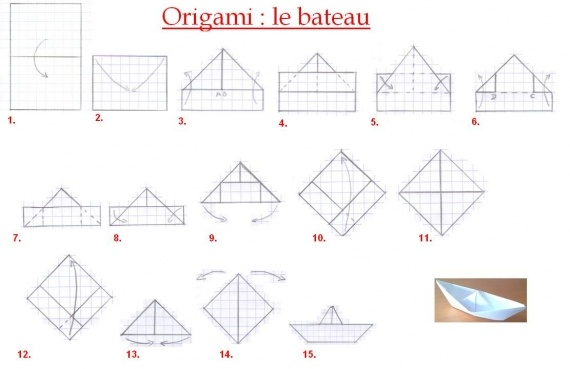 origami facile a faire bateau. Black Bedroom Furniture Sets. Home Design Ideas
